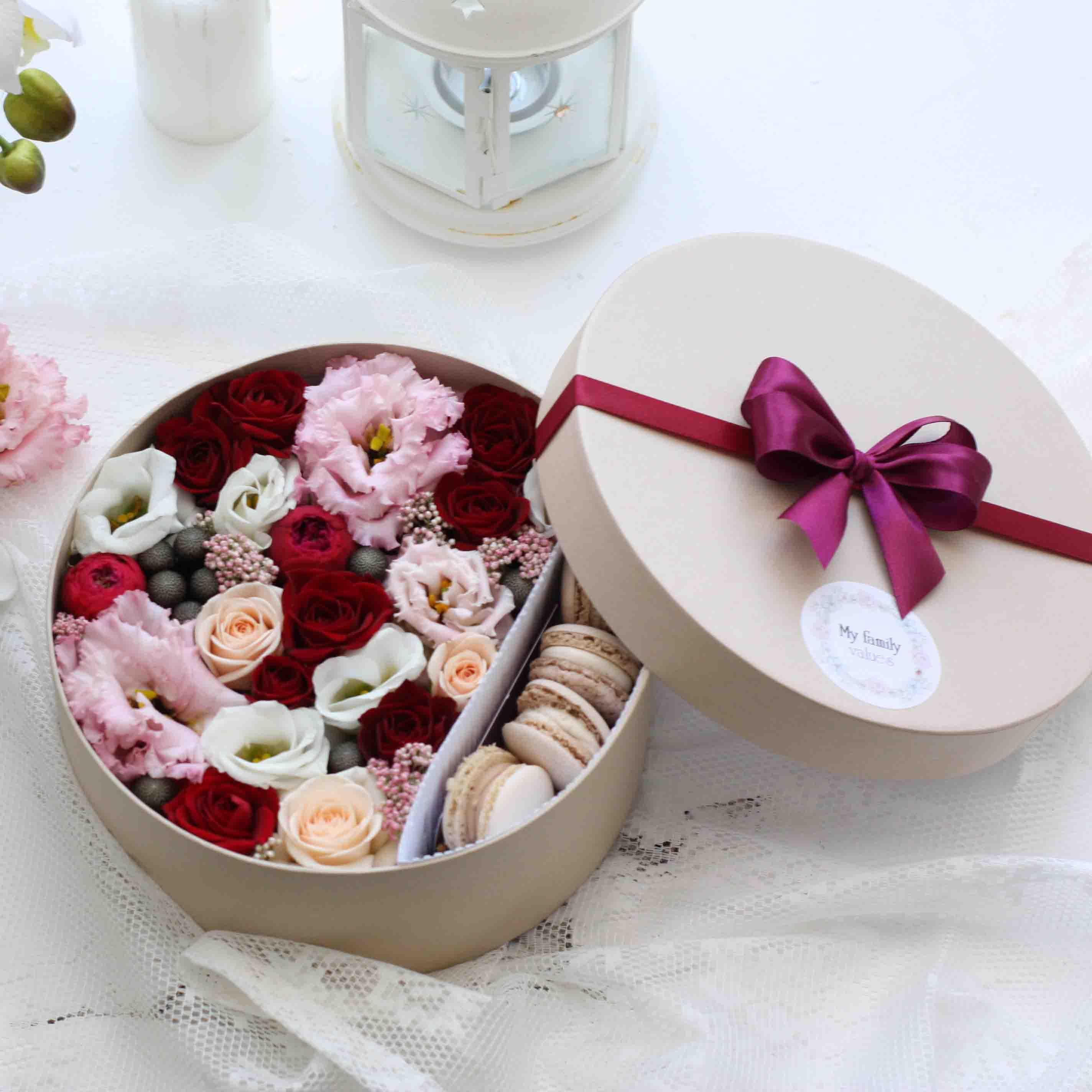 Цветы и макаруны M (⌀20 см), №0167