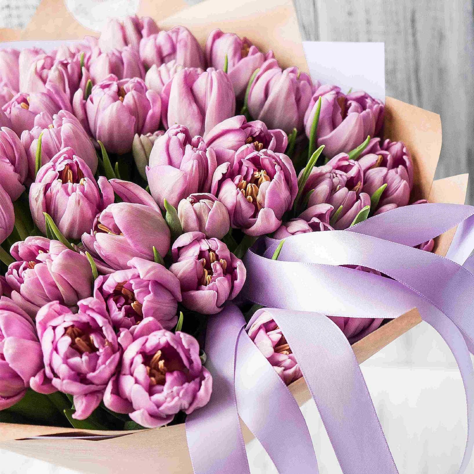Тюльпаны пионовидные сиреневые №0914