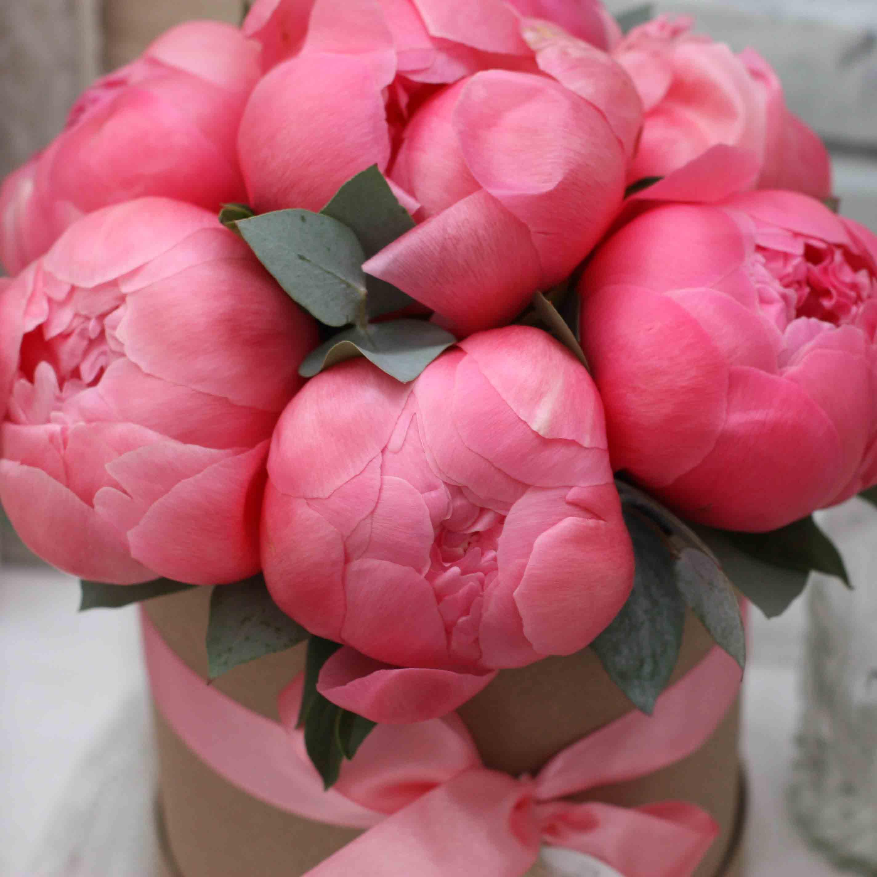 Цветы в коробке S (⌀14 см), №0577