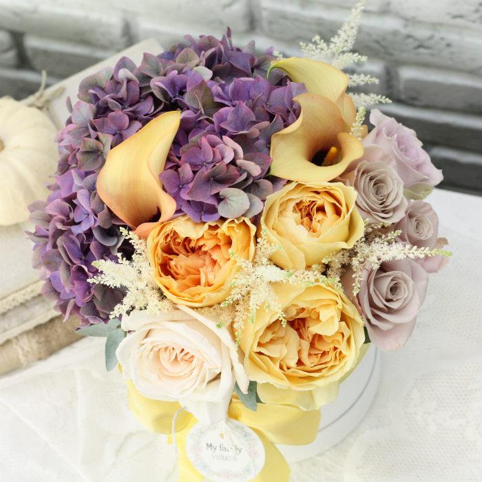 Цветы в коробке S (⌀14 см), №0600
