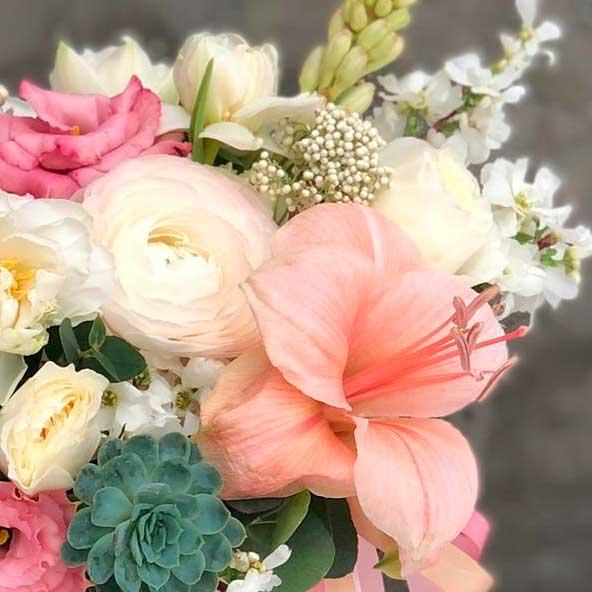 Цветы в шляпной коробке S (14 см) №0985