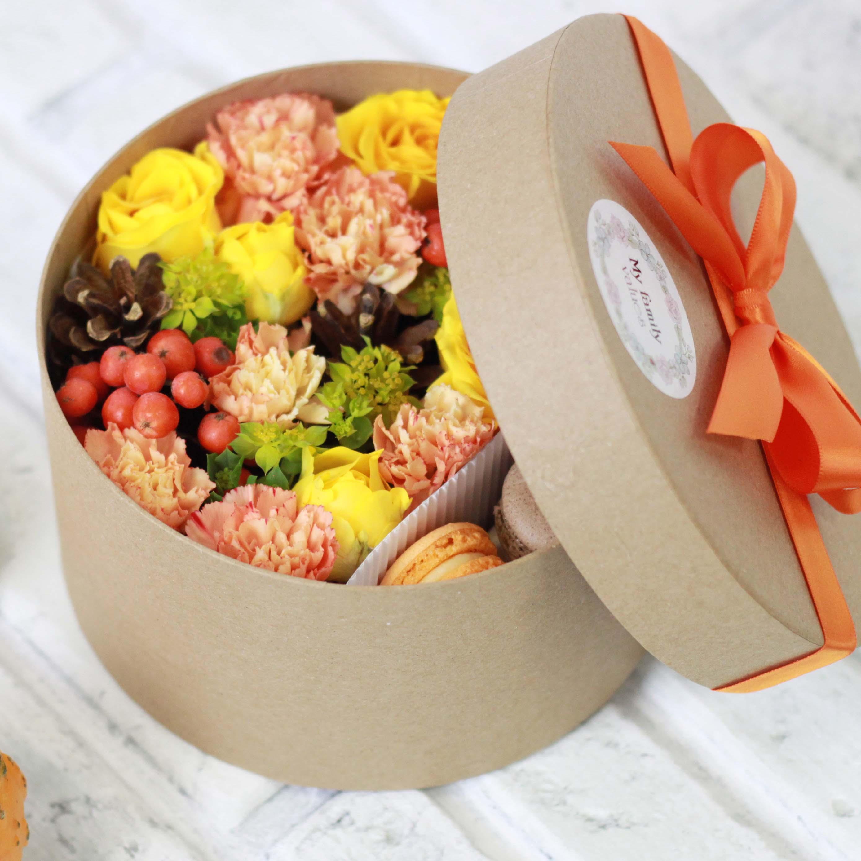 Цветы и макаруны S (⌀17 см), №0126