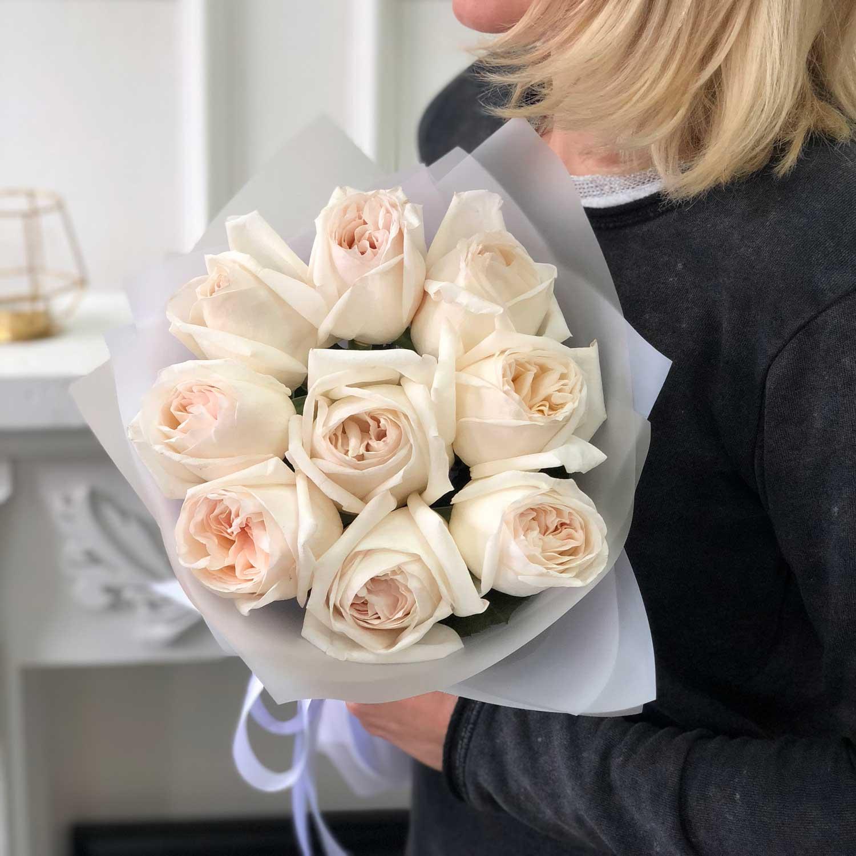 Букет из пионовидных роз Вайт Охара №0361