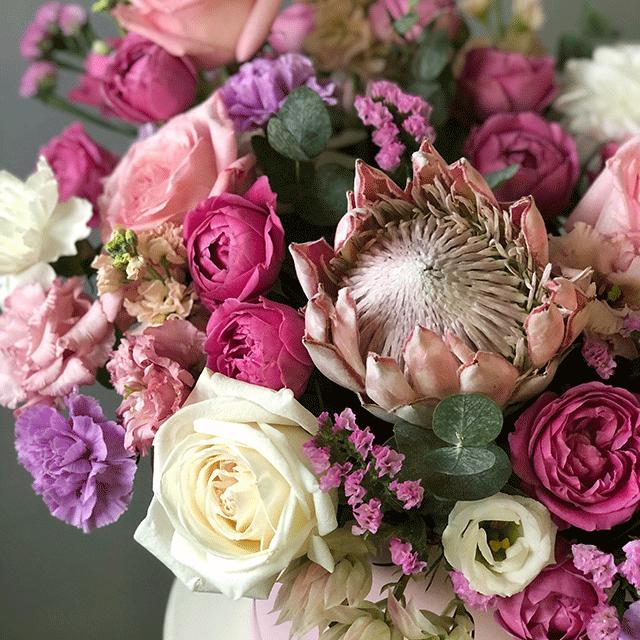 """Цветы в коробке L """"Ягодный смузи"""" №0824"""