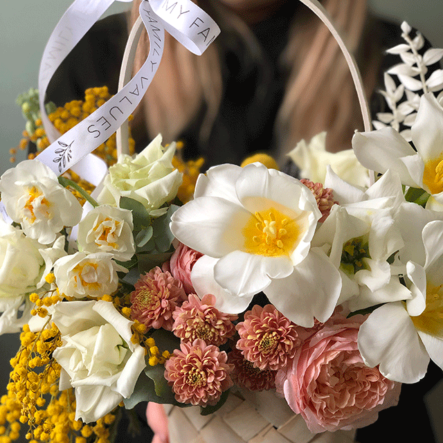 """Цветы в корзине """"Первоцвет"""" №0212"""