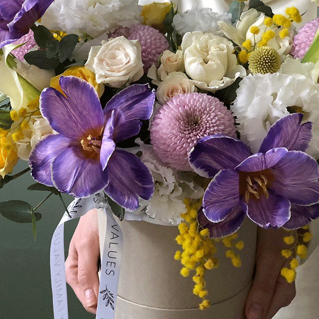 "Цветы в коробке S ""Аметист Старлинг"" №0992"