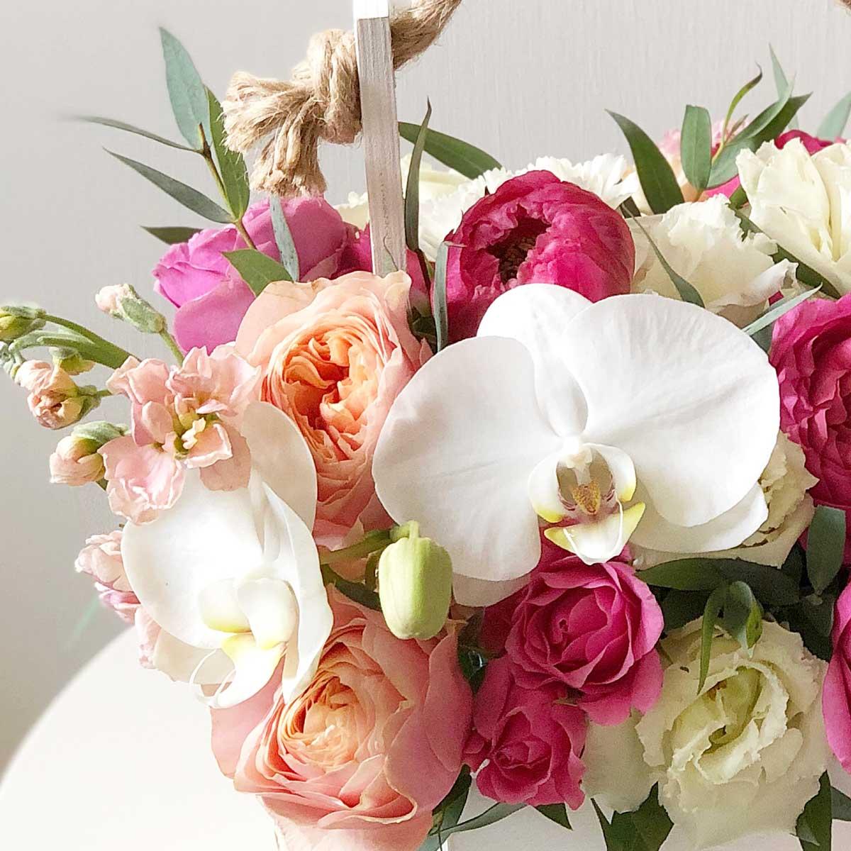 Композиция в ящике с орхидеей №0371