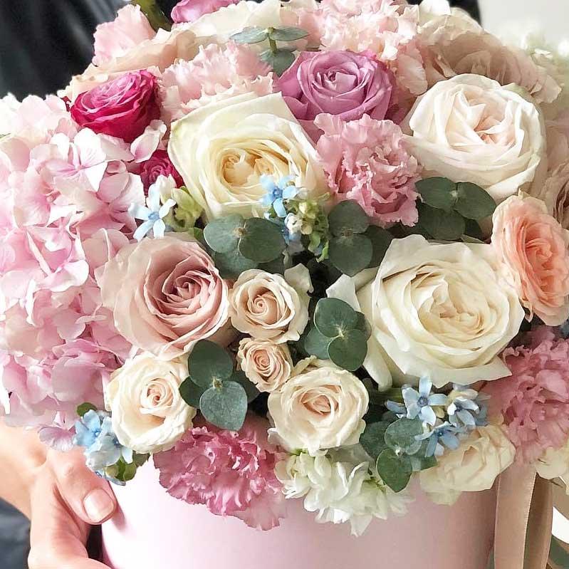 """Цветы в коробке М """"Акварельная фантазия"""" №0885"""