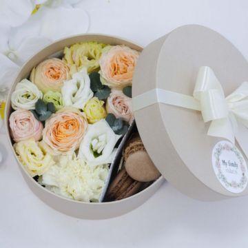 Цветы и макаруны S (⌀17 см), №0117