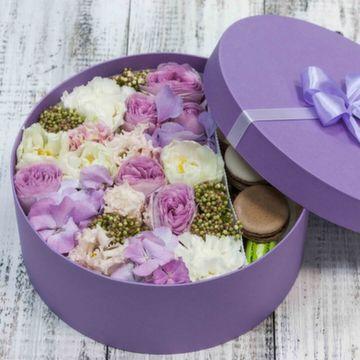 Цветы и макаруны L (⌀25 см), №0132