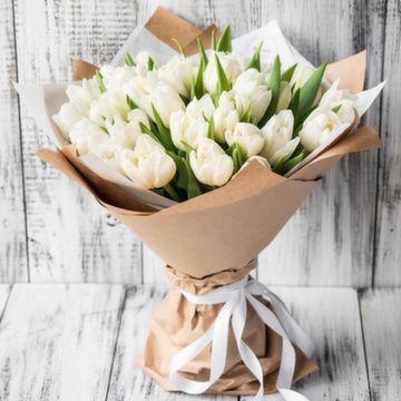 Букет из белых тюльпанов №0911