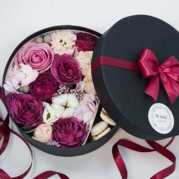 Цветы и макаруны M (⌀20 см), №0109