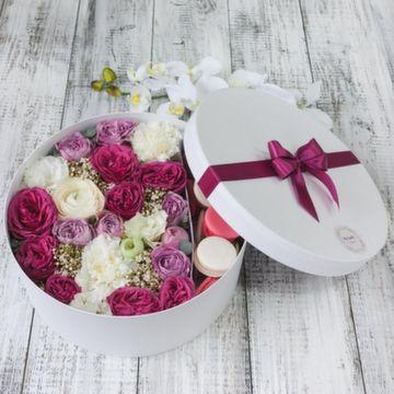 Цветы и макаруны XL (⌀30 см), №0157