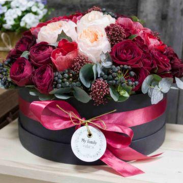Цветы в коробке L (25 см), №0530
