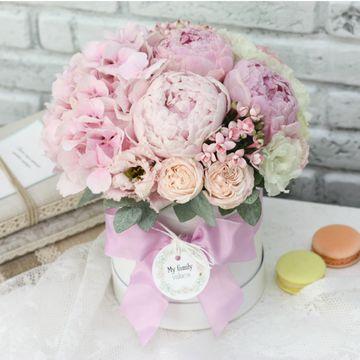 Цветы в коробке S (⌀14 см), №0566