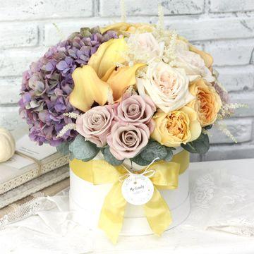 Цветы в коробке М (⌀20 см), №0601