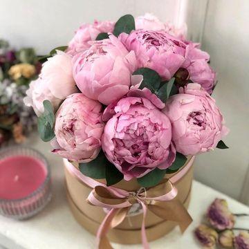 Цветы в коробке S (⌀14 см), №0561