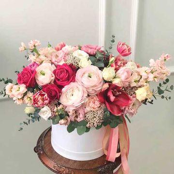 Цветы в коробке М (⌀20 см), №0990
