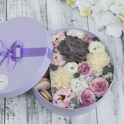 Цветы и макаруны L (⌀25 см), №0150
