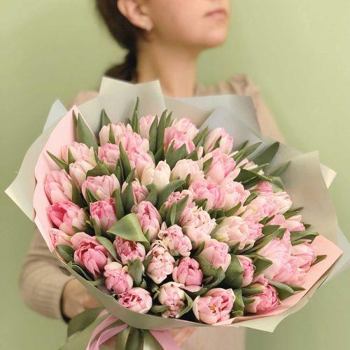 Букет розовых тюльпанов №0915