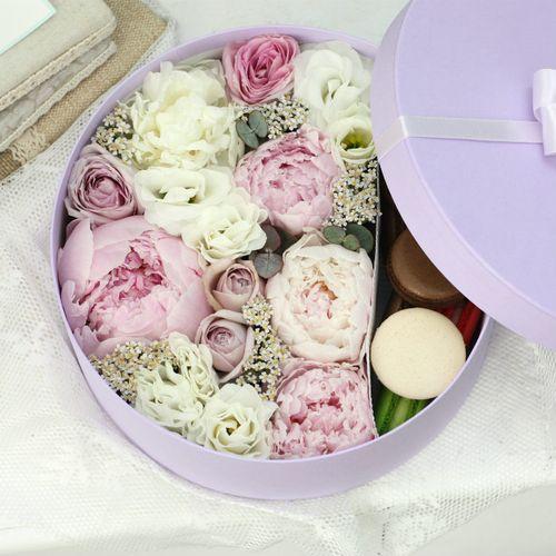 Цветы и макаруны L (⌀25 см), №0175