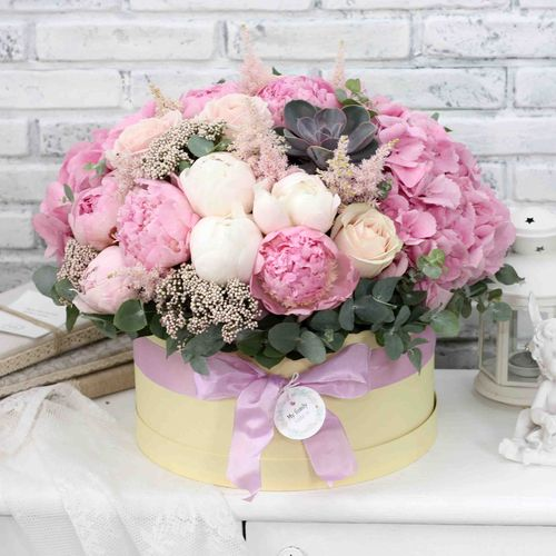 Цветы в коробке XL (⌀30 см), №0585