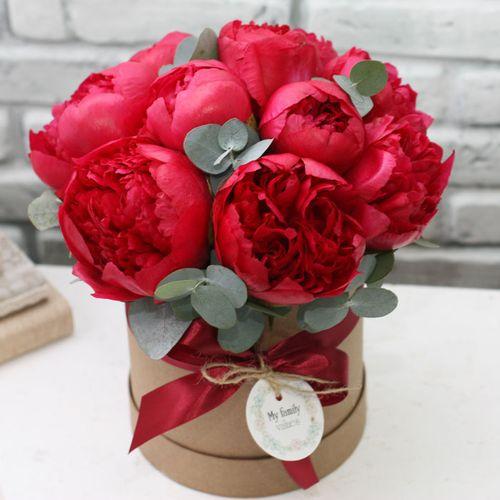 Цветы в коробке S (⌀14 см), №0590