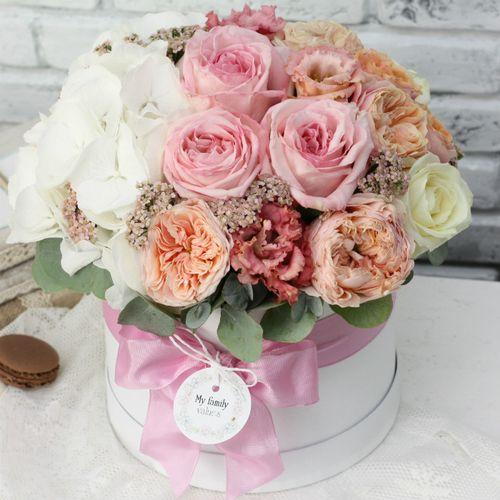 Цветы в коробке М (⌀20 см), №0594