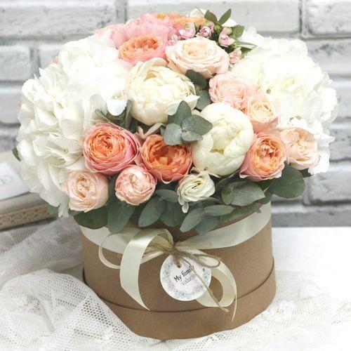 Цветы в коробке М (⌀20 см), №0595
