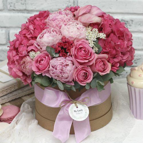 Цветы в коробке М (⌀20 см), №0596