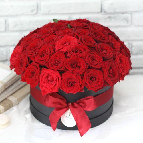 Цветы в коробке L (⌀25 см), №0597