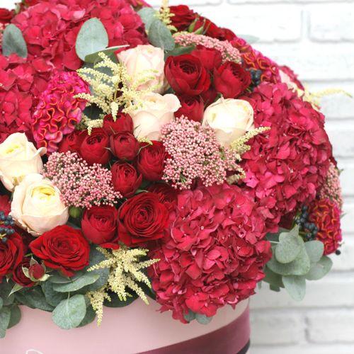 Цветы в коробке King Size (⌀43 см), №0603