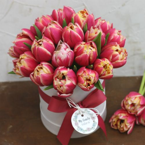 Цветы в коробке S (⌀14 см), №0604