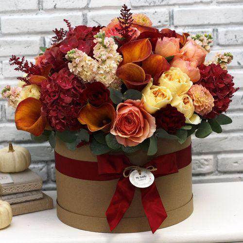 Цветы в коробке XL (⌀30 см), №0602