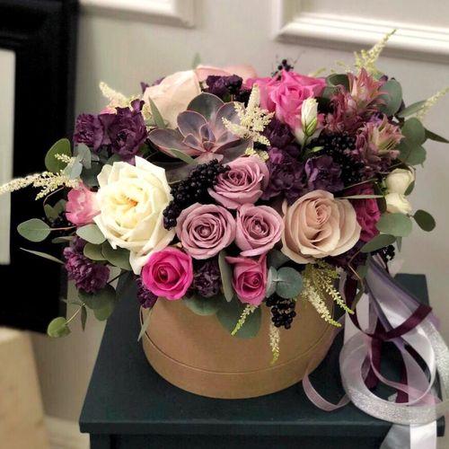 Цветы в коробке М (⌀20 см), №0612