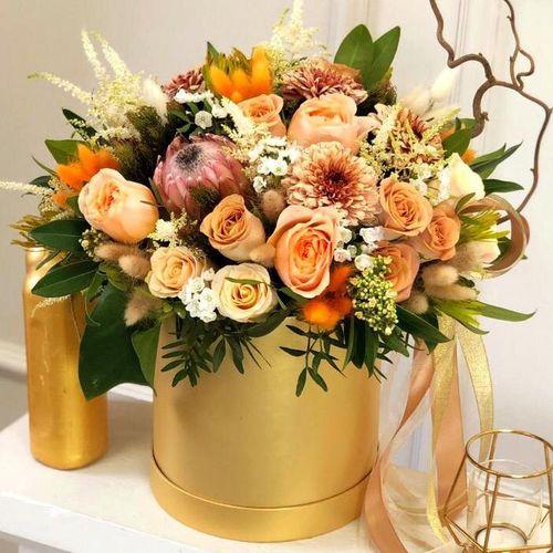 Цветы в коробке М (⌀20 см), №0613