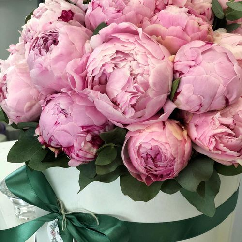 Цветы в коробке L (⌀25 см), №0957