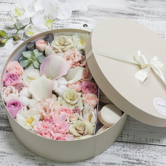 Цветы и макаруны XL (⌀30 см), №0203