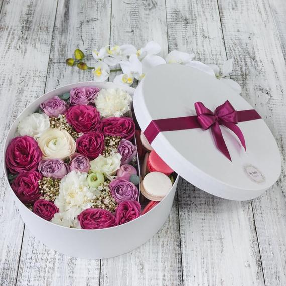 Цветы и макаруны XL (⌀30 см), №0204