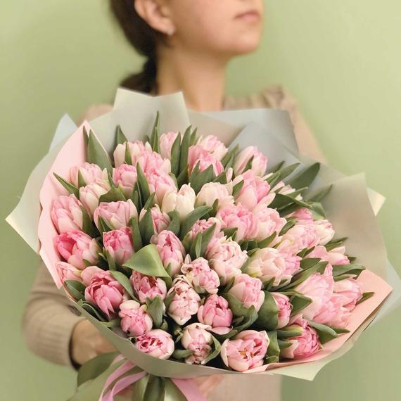 Тюльпаны пионовидные нежно-розовые №0915