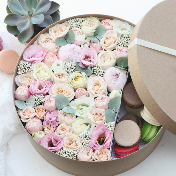 Цветы и макаруны XL (⌀30 см), №0178