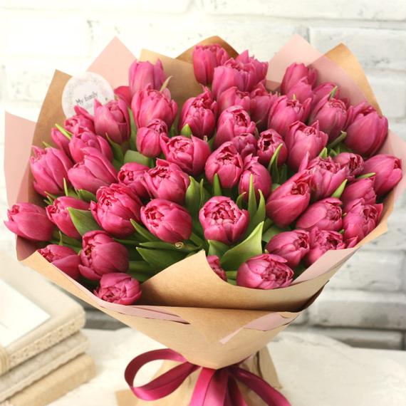 Тюльпаны пионовидные малиновые №0951