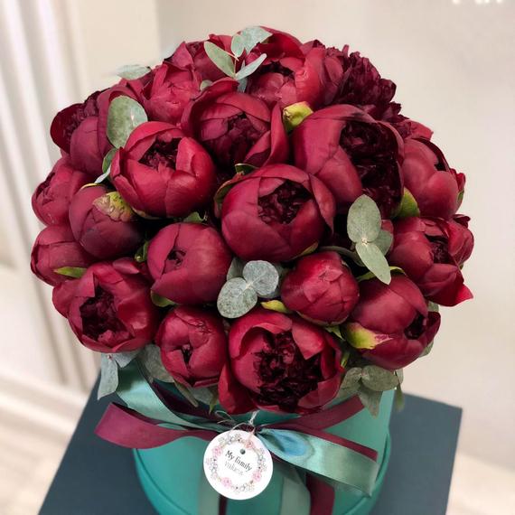 Цветы в коробке L (⌀25 см), №0958