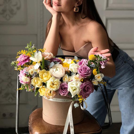 """Цветы в коробке М """"Майский дождь"""" №0566"""