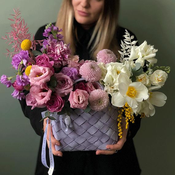 "Цветы в корзине ""Утро в Провансе"" №0213"