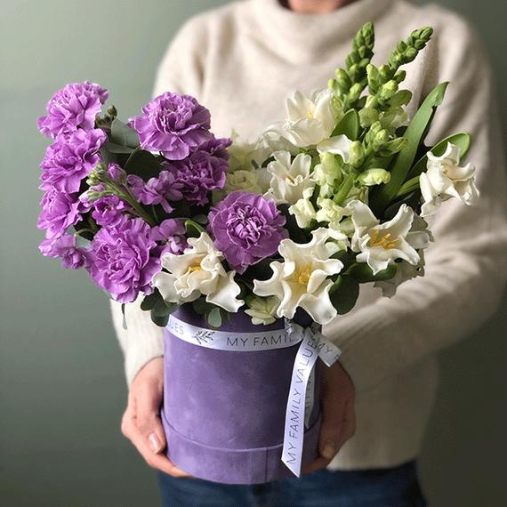 """Цветы в коробке S  """"Сирень и крыжовник"""" №0215"""