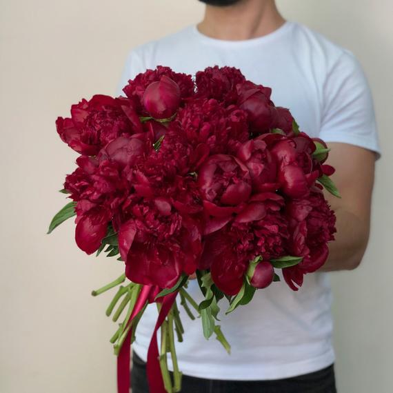 Букет пионов Ред Шарм №0346