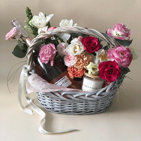 """Цветы в корзине """"Rose"""" №0114"""