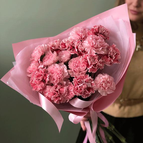 Гвоздики микс розовые №0532
